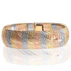 14k Tri Color Gold Cleopatra Bracelet 20mm Sku 156 05