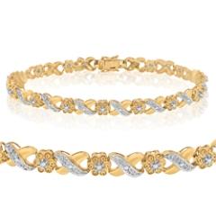 Las 14k Yellow Gold X O Diamond Tennis Bracelet With Round Diamonds 0 31ct Sku