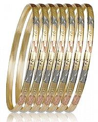 Las Tri Color 7 Day Bangle Bracelet Semanario 4mm Wide S