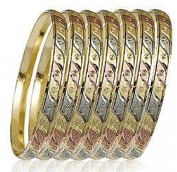 Las Tri Color 7 Day Bangle Bracelet Semanario 6mm Wide S