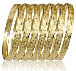Ladies Yellow 7 Day Bangle Bracelet Semanario 6mm Wide S M L