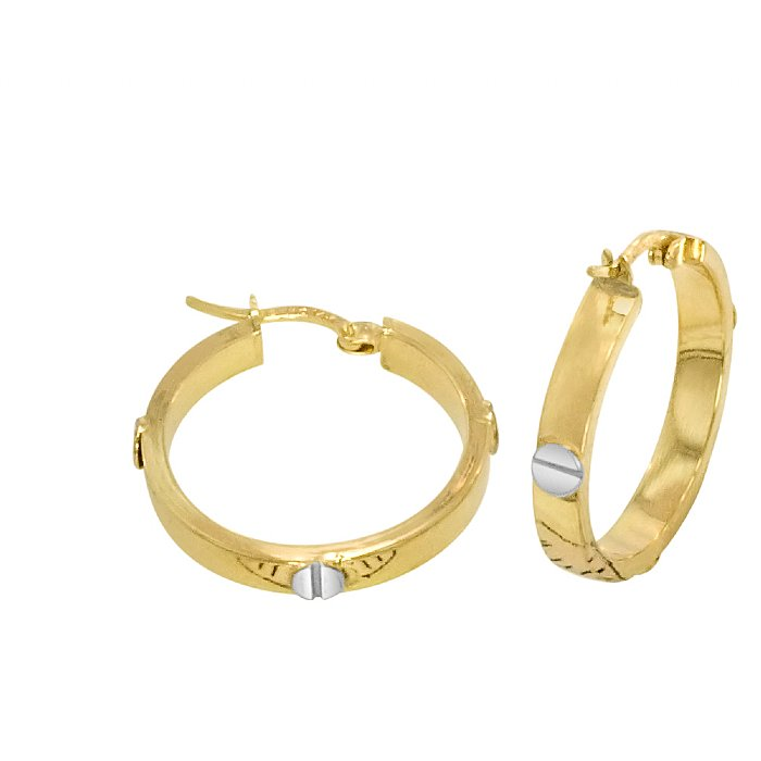 14k Gold Bonded Over Silver Designer Hi Polish Round Hoop Earrings Beautifully Accented With