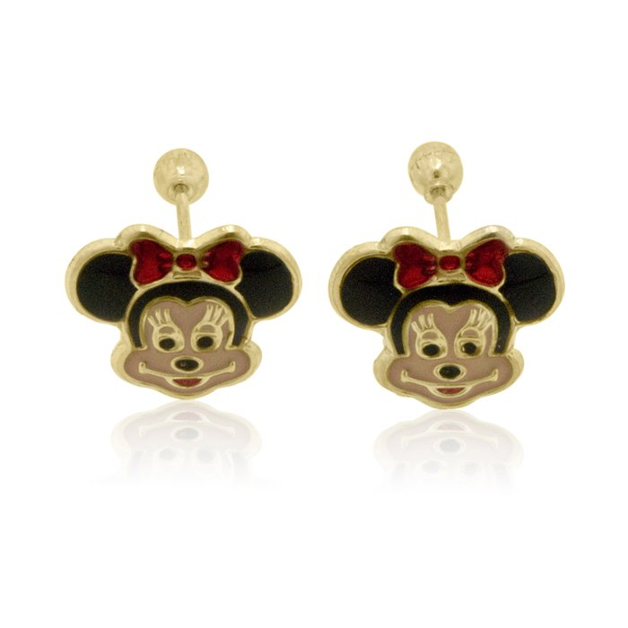 Minnie Mouse Earrings In 14k Yellow Gold With Back Sku Okne 001