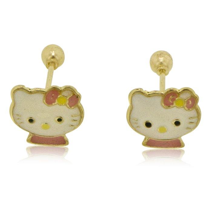 Hello Kitty Earrings half body in 14k Yellow Gold With Screw Back
