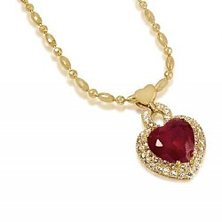 Heart design titanic pendant with multi color cz in 18kt oro red heart design titanic pendant with multi color cz in 18kt oro laminado aloadofball Image collections